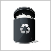 black recycle bin